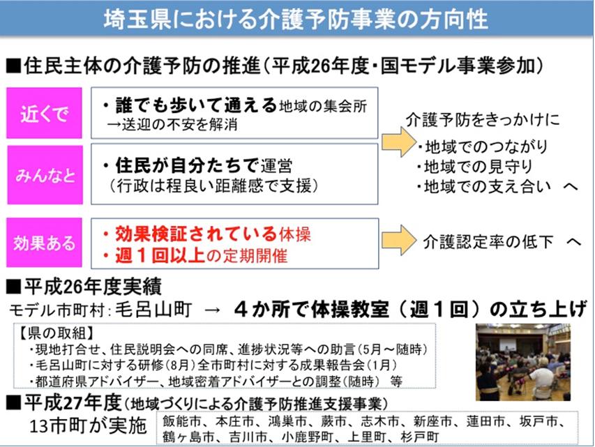 地域包括ケアシステム 埼玉県における介護予防事業の方向性
